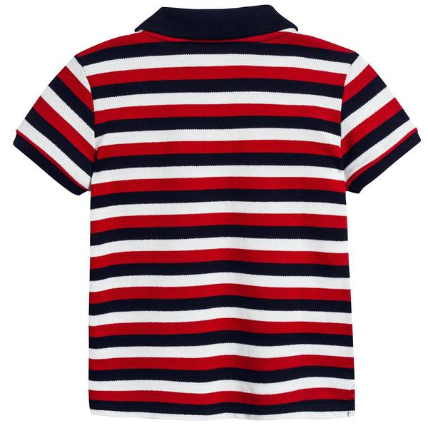 Baby Boys Red & Navy Striped Cotton Polo Shirt