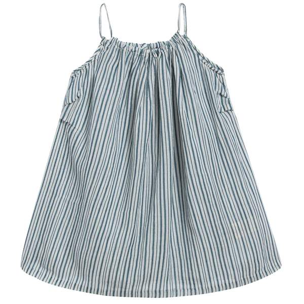 Baby Girls Blue Stripe Woven Dress