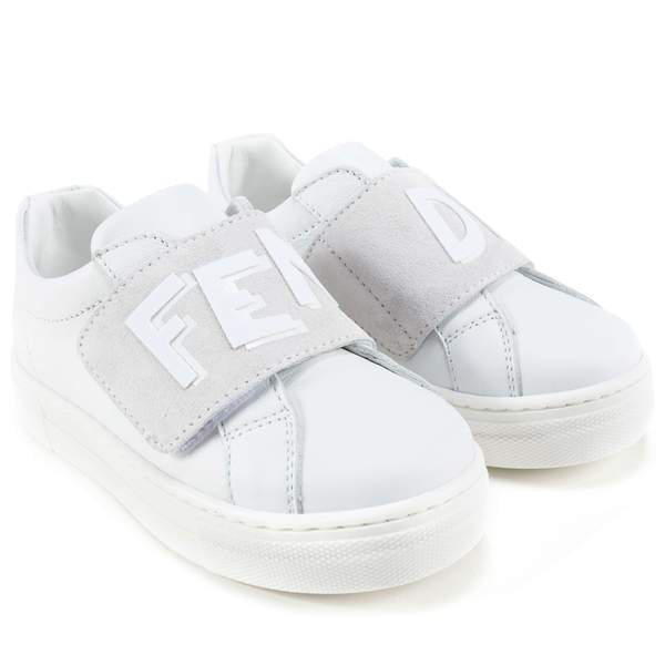 Boys White Velcro Nappa Sneaker Vitello Shoes