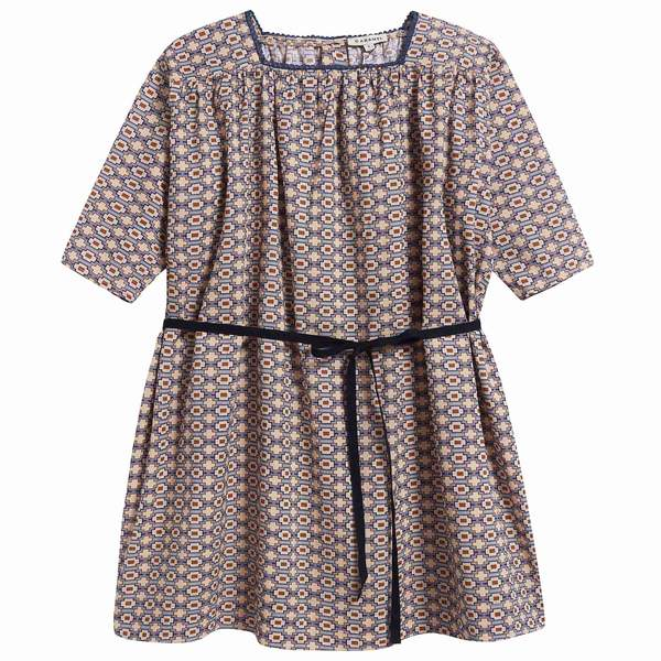 Girls Kaleido Blue Cotton Woven Dress