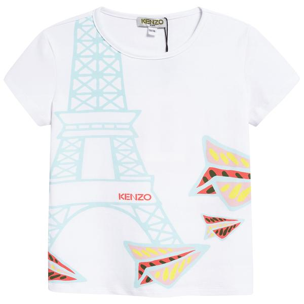 Girls White Eiffel Printed Cotton T-shirt
