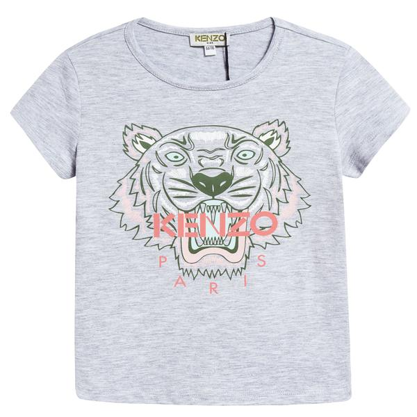 Girls Grey Tiger Printed Cotton T-shirt