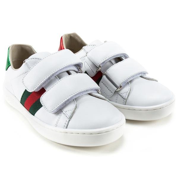 White Velcro Leather Board Shoes