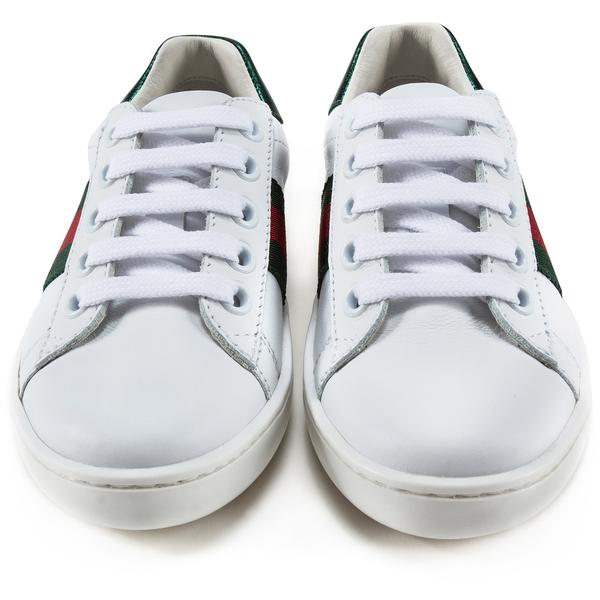 Girls & Boys White Leather Trainers