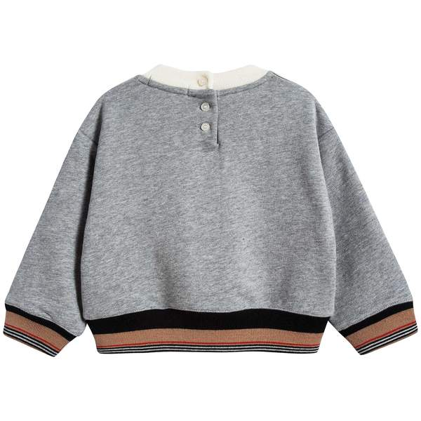 Baby Boys Grey Melange Cotton Sweatshirt