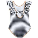 Girls White & Black Striped Polyamide Swimwear