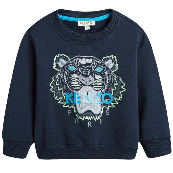 Boys Navy Blue Embroidered Tiger Head Cotton Sweatshirt - CÉMAROSE | Children's Fashion Store - 1