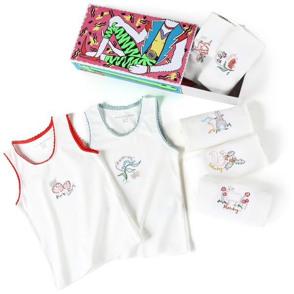 Girls White Anticipato Prim Vests 7 Pack Gift Set