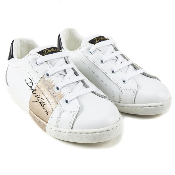 Girls White Leather Whit  Logo Shoes