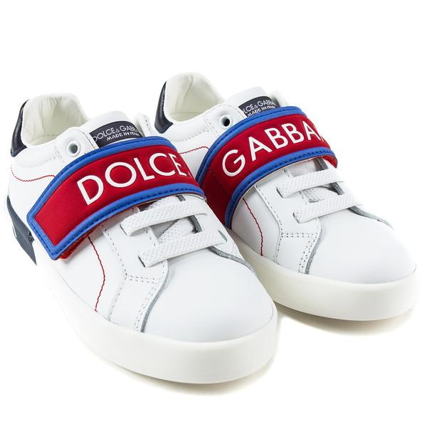 Girls White Leather Whit Red Logo Shoes