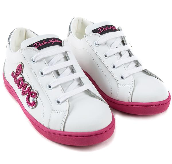 Girls White Leather Whit Pink Logo Shoes
