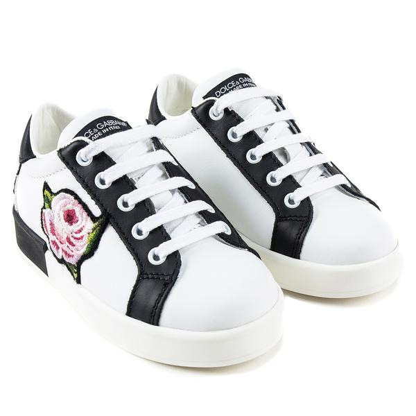 Girls White Leather Rose Shoes