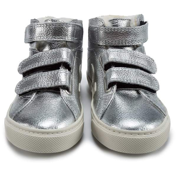 Boys & Girls Silver Leather Velcro With White