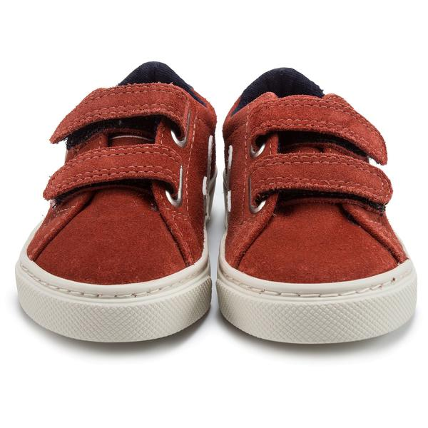 Baby Red Leather Velcro With White