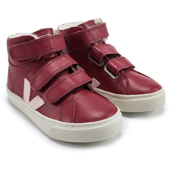 Girls & Boys Red Leather Velcro High Top Shoes