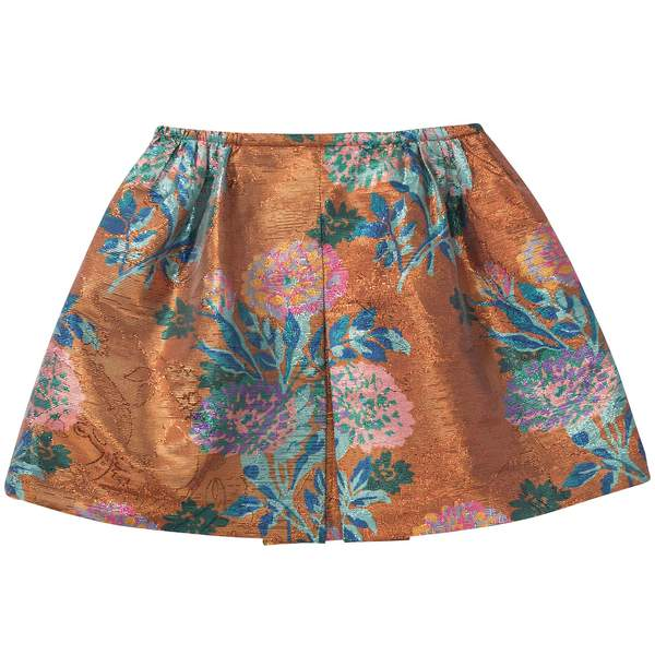 Girls Metallic Flower Print Skirt