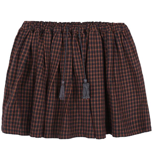Girls Orange Check Cotton Skirt
