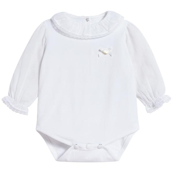 Baby Girls White Cotton Babysuit
