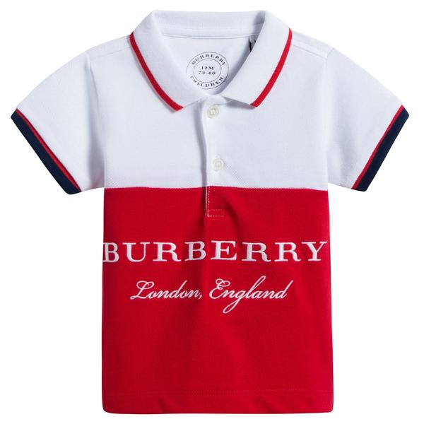 Boys White & Red Logo Cotton Polo Shirt