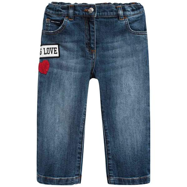 Baby Girls Dark Blue Rose Embroidered Denim Trousers