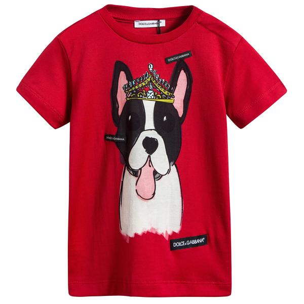 Baby Girls Red Dog Cotton T-shirt