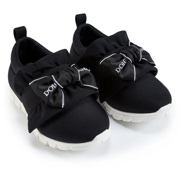 Girls Black Bow Tie Logo Printed Shoes