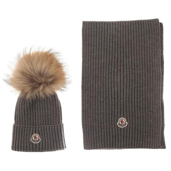 Boys & Girls Grey Plush Trims Knitted Hat & Scarf Sets - CÉMAROSE | Children's Fashion Store - 1
