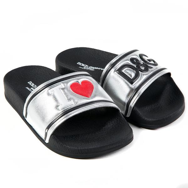 Girls & Boys Black  Silver  Logo Slippers