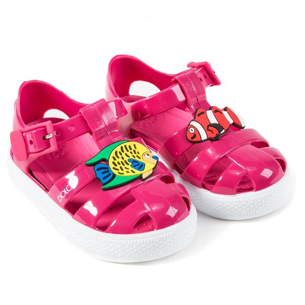 Girls Rose Pink Whit Fish Sandals