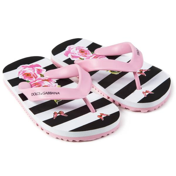 Girls Pink Striped Rose Slippers