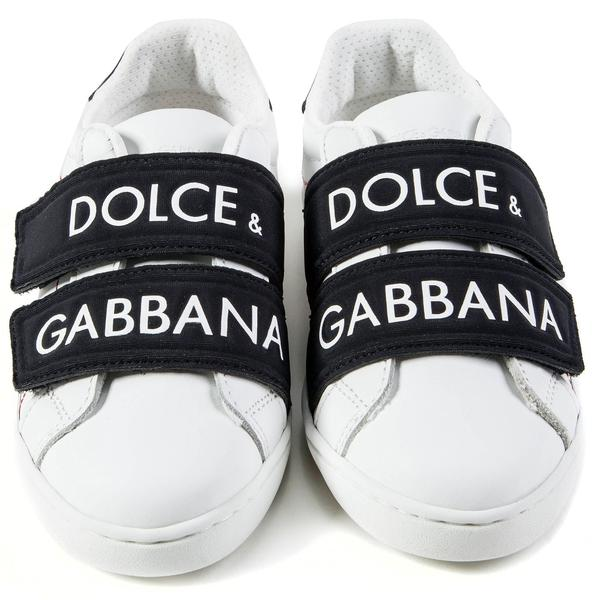 Girls & Boys White Black Logo Shoes