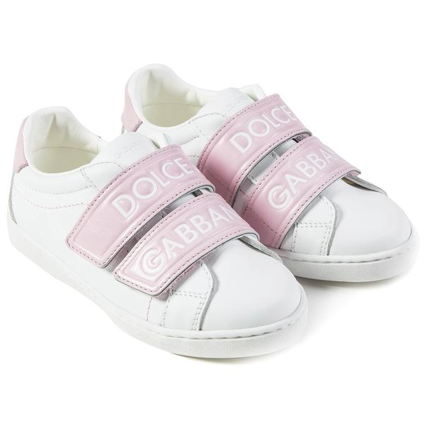 Girls White Pink Logo Shoes