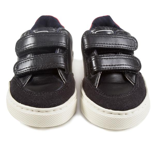 Boys  Navy  Blue   Leather Velcro   With   Red