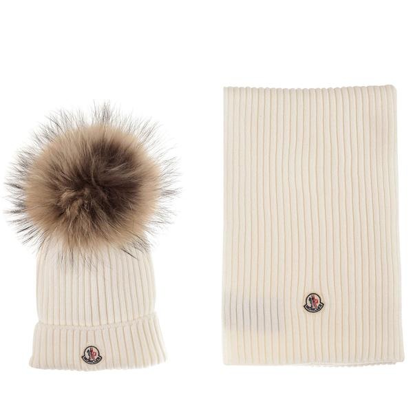 Boys & Girls White Plush Trims Knitted Hat & Scarf Sets - CÉMAROSE | Children's Fashion Store