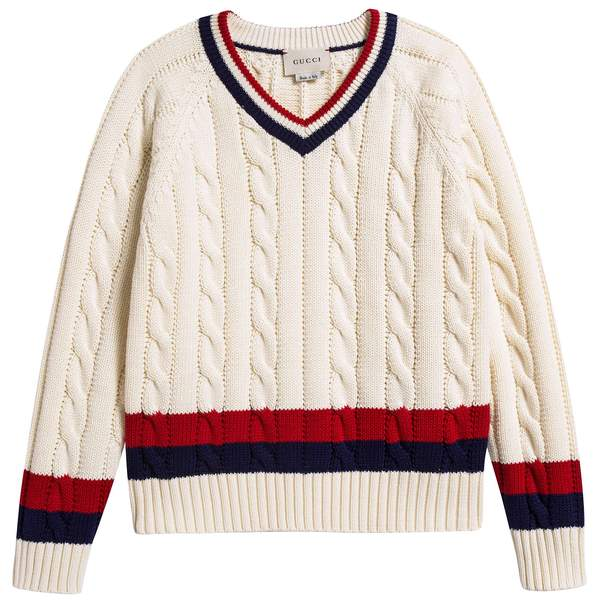 Girls White & Red Striped  Sweater
