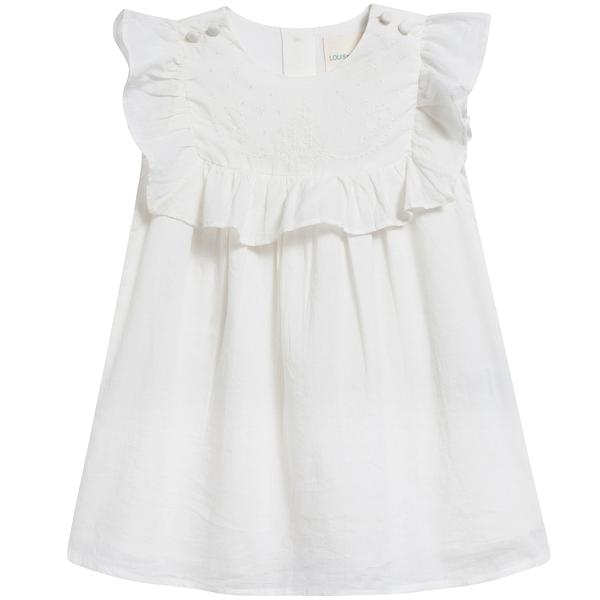 Baby Girls Off  White Cotton Dress