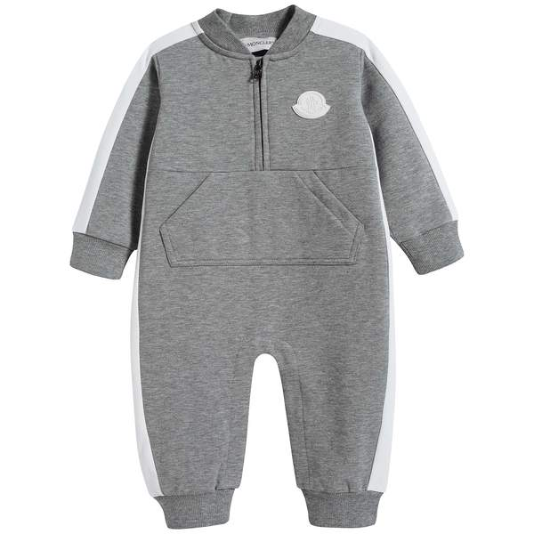 Baby Boys Grey Cotton Jumpsuit