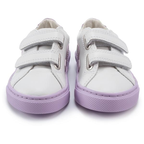 Girls Black Leather Velcro With Purple
