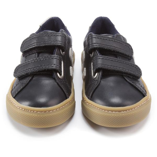 Boys Black Leather Velcro With White