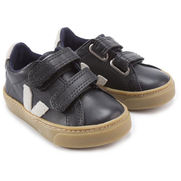 Baby Black Leather Velcro With White