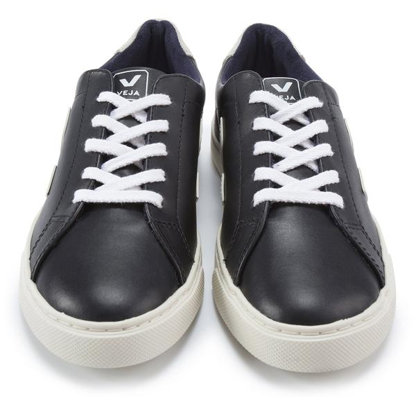 Girls & Boys Black Leather Velcro With White
