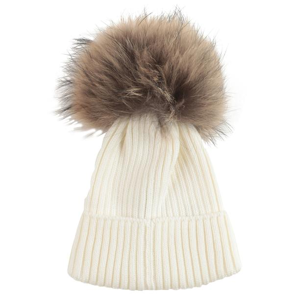 Girls White Logo Virgin Wool Hat