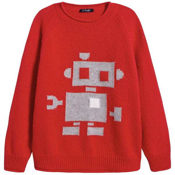 Boys Red Pattern Wool Sweater