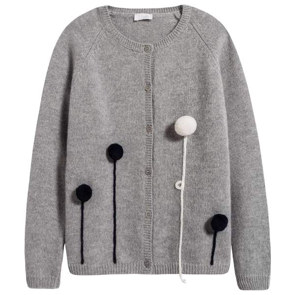 Girls Grey Balloon Wool Cardigan