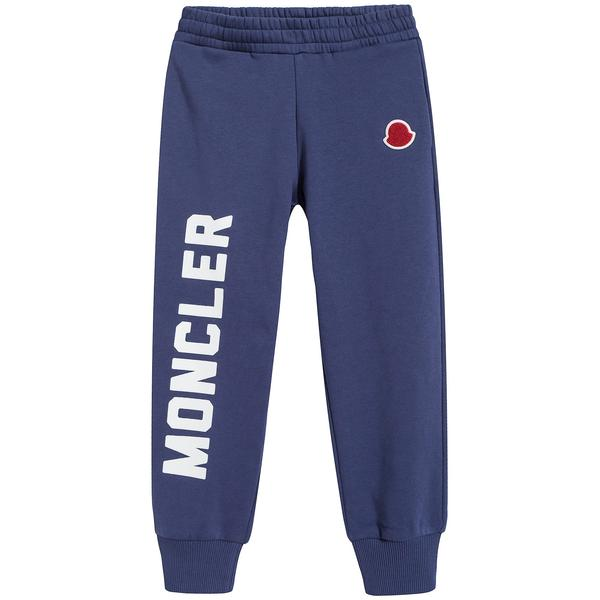 Boys Dark Blue Logo Cotton Trousers