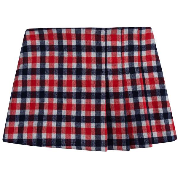 Girls Poppy Red Check Skirt
