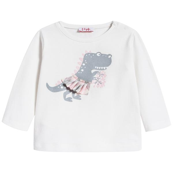 Baby Girls Milk & Pink Cotton T-shirt