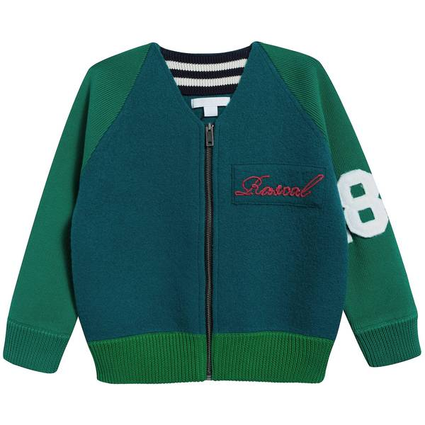 Boys Forest Green Merino Wool Cardigan