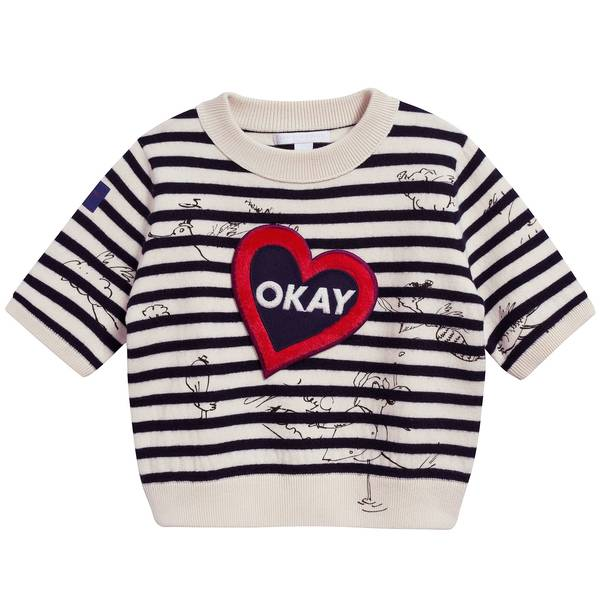 Girls Beige & Black Striped Cotton & Wool Sweater