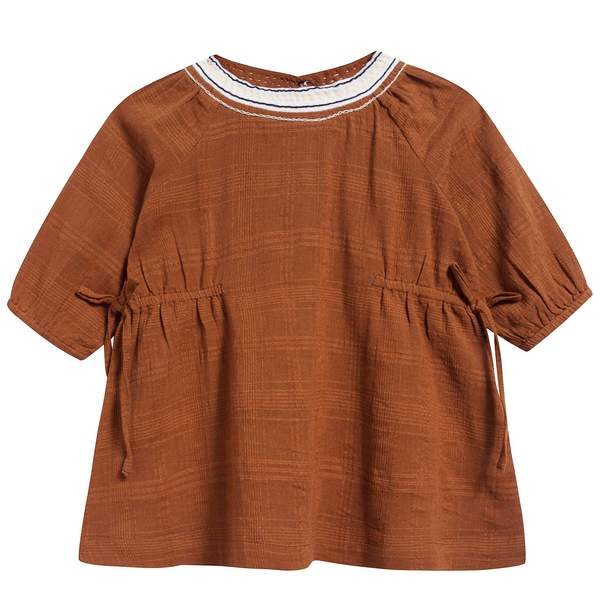 Baby Girls Camel Cotton Woven Dress